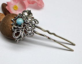 Fantasy hair pin - sculpted 3D jewelry model - stl and 2