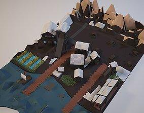 3D asset Low-Poly Village