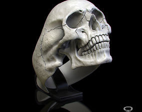 3D print model ring skull with jaw