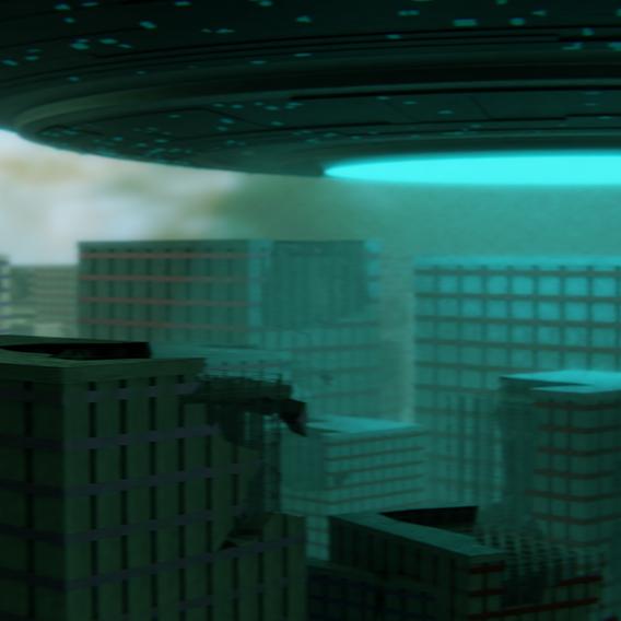 City  Attacked By Aliens Scene Blender