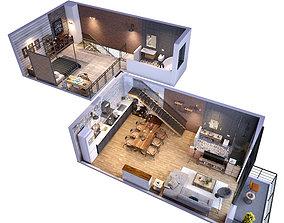 Loft apartment 3D model