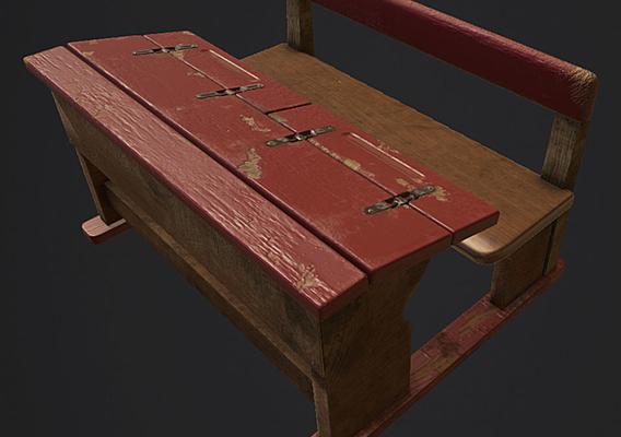 Old USSR school desk Low-poly 3D model