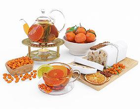 Fruit tea and tangerines 3D model