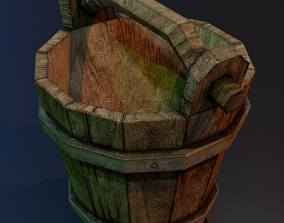 Wooden bucket with metal rings and contamination 3D asset