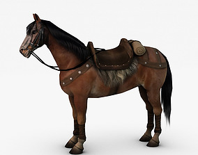 Horse with fur 3D asset