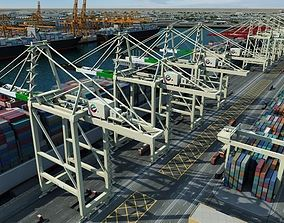 Dubai Marina Container Unloading 3D