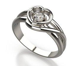 Heart Ring with diamond 3D print model diamondring