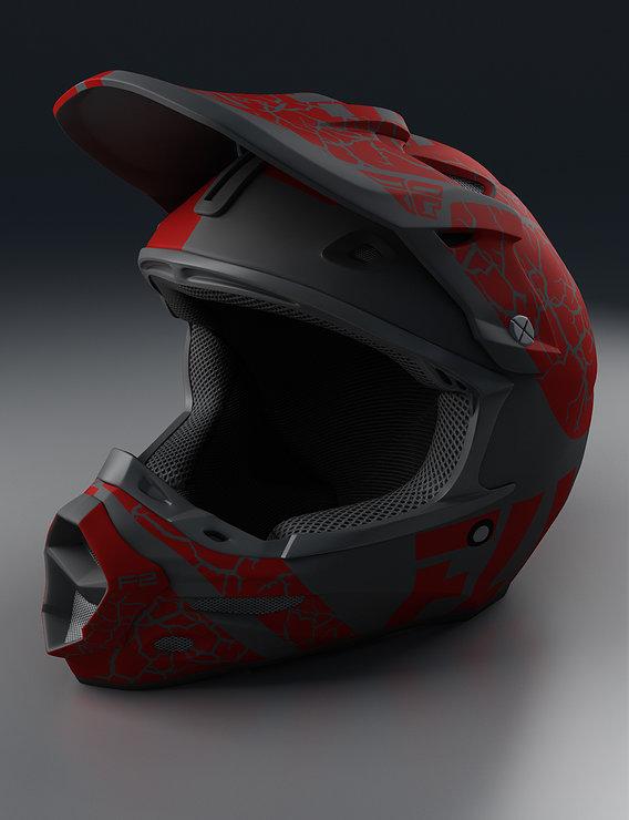 Moto Helmet Red Render
