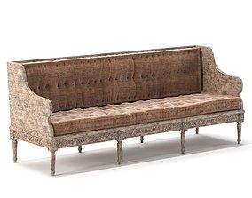 3D Circa 1790 18th Century Gustavian Period Sofa
