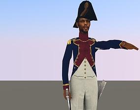 Black OFFICER LOW POLY Napoleonic wars 3D model