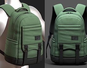 3D asset low-poly Backpack Camping bag baggage