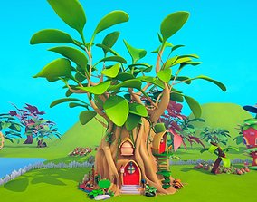 Asset - Cartoons - Background- Farm - Hight Poly 3D model