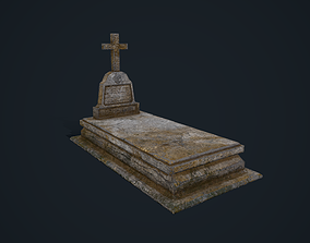 3D asset low-poly Gravestone 2