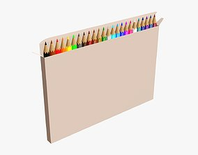 3D Colored pencils in box 01