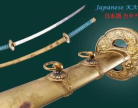 low-poly Japnese Katana Sword 3D Gaming Model
