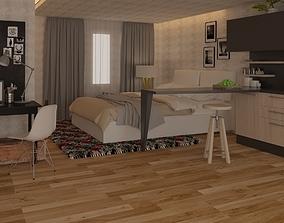 Bedroom 05 with Modern Details 3 3D model