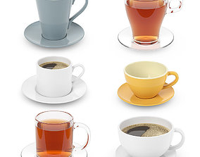 3D Cups collection with tea and coffee