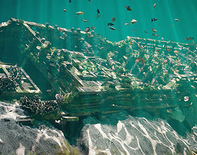 3D asset Underwater Shipwreck Scene