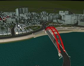 3D model Modern City By The Water and Bridge