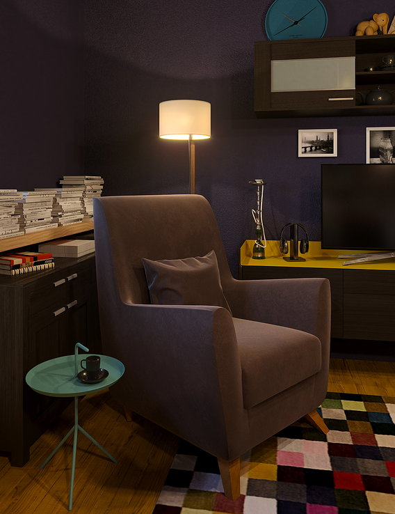 Armchair and ottoman in a interior In the Scandinavian style