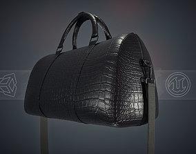 Black Leather Bag With Strip 3D asset