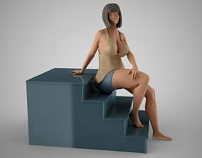 3D printable model Woman Sitting on the Stairs