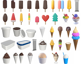 3D Ice cream packaging waffle cone cup balls mock up