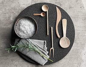 3D Lava Plate with Wooden Tableware Napkin and Rosemary