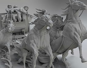 Cowboys with horses 3D printable model