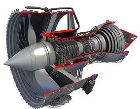 3D model Jet Turbofan Engine Cutaway