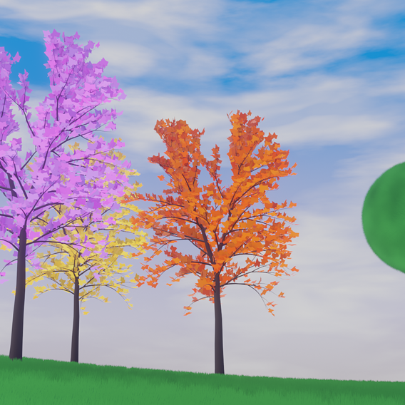 Cartoon Style Grass and Trees Blender Material