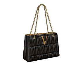 3D asset Versace Virtus Quilted Small Tote Bag Black
