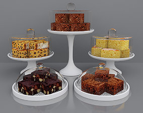 3D model pastryshop Brownies and cake bars