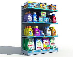 Supermarket Shelves Detergents 3D retail