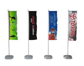 3D model Banner flags