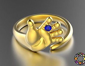 3D printable model hand shaped ring 1