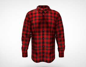 shirt flanel long sleves 3D asset game-ready