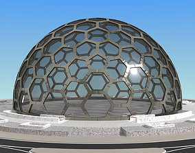 3D model big hexagon dome with two underground entrances