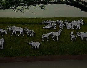 Safari animal silhouettes 3D model