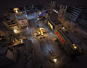Destroyed Building ruin 3D model shadow
