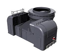 3D print model Front barbette gun turret scale