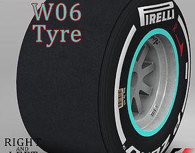 3D model W06 Medium Rear tyre