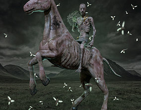 3D model rigged Zombie Horse and Rider