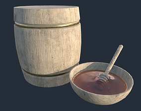 Honey wood barell plate and spoon 3D model