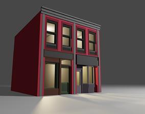 1930s low poly building 01 3D asset