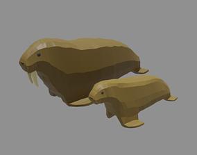 3D asset Cartoon Walrus Family