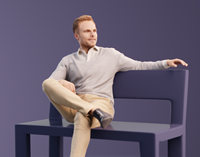 3D model Simon 10042 - Sitting Casual Man