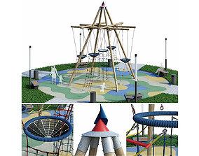 Children rope playground 3D