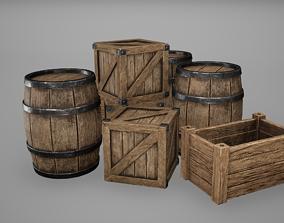 3D model Barrel Set Low Poly Game Ready