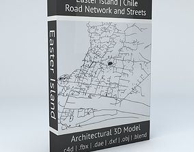 3D model Easter Island Road Network and Buildings